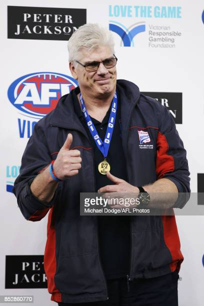 Port coach Gary Ayres celebrates after winning during the VFL Grand Final match between Richmond and Port Melbourne at Etihad Stadium on September 24...