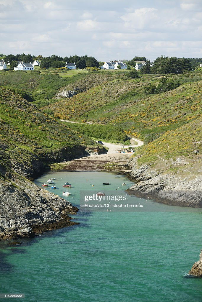 Port de Pouldon, Belle-Ile-en-Mer, Morbihan, Brittany, France : Stock Photo