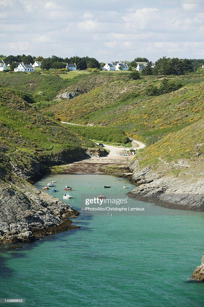 Port de Pouldon, Belle-Ile-en-Mer, Morbihan, Brittany, France : Foto de stock