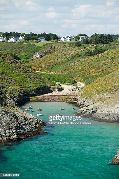 port de pouldon, belle-ile-en-mer, morbihan, brittany, france - ile de france stockfoto's en -beelden