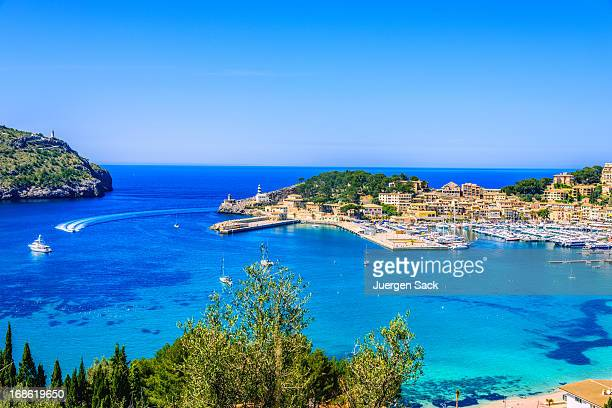 port de soller (mallorca) - majorca stock pictures, royalty-free photos & images