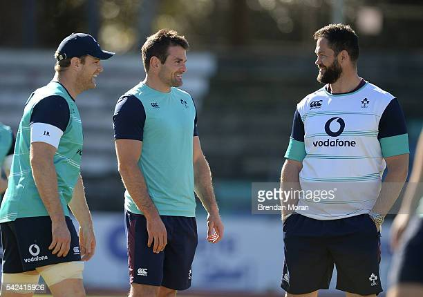 Port Elizabeth South Africa 23 June 2016 Jared Payne centre and Jamie Heaslip of Ireland with defence coach Andy Farrell during rugby squad training...