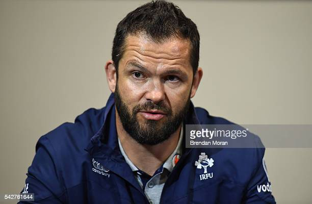 Port Elizabeth South Africa 24 June 2016 Ireland defence coach Andy Farrell during a press conference after the captain's run at the Nelson Mandela...