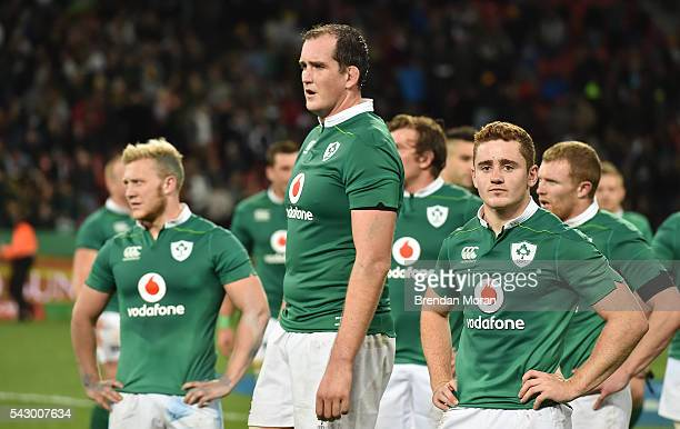 Port Elizabeth South Africa 25 June 2016 Dejected Ireland players from left Stuart Olding Devin Toner and Paddy Jackson after the Castle Lager...