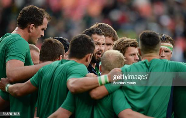 Port Elizabeth South Africa 25 June 2016 Ireland defence coach Andy Farrell centre speaks to the players before the Castle Lager Incoming Series 3rd...