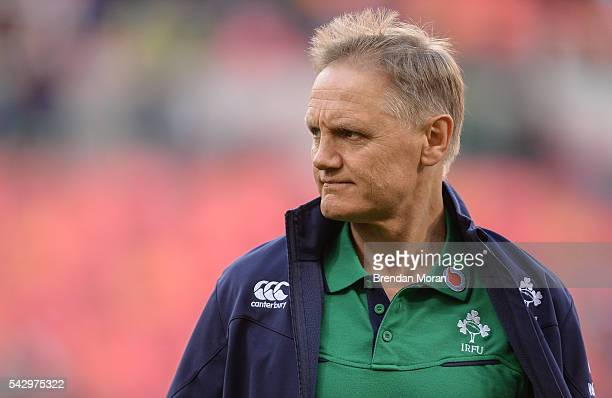 Port Elizabeth South Africa 25 June 2016 Ireland head coach Joe Schmidt before the Castle Lager Incoming Series 3rd Test between South Africa and...