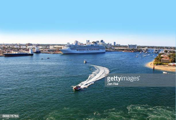 Port Everglades in Broward county, Florida USA - shows US coast guard patrolling area