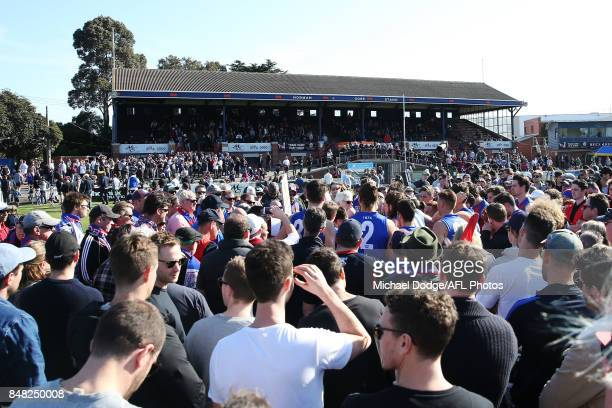 Port fand crowd around as Port coach Gary Ayres speaks to his players during the VFL Preliminary Final match between Williamstown and Port Melbourne...