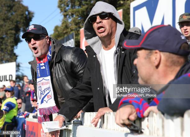 Port fans celebrates a goal during the VFL Preliminary Final match between Williamstown and Port Melbourne at Fortburn Stadium on September 17 2017...