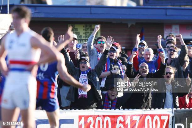 Port fans celebrates a goal during the VFL Semi Final match between Port Melbourne and Footscray at Fortburn Stadium on September 10 2017 in...