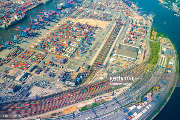 port from the air - lagerhalle stock pictures, royalty-free photos & images