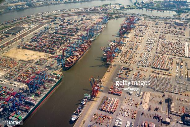 port from the air - luftaufnahme stock pictures, royalty-free photos & images