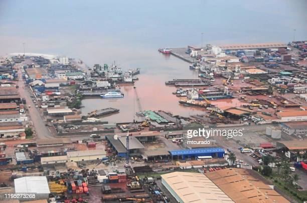 port gentil - gabon - the harbor seen from the air - cape lopez peninsula - gabon stock pictures, royalty-free photos & images