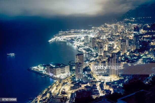 port hercule à la tombée de la nuit, de hercule, le port marina - monaco photos et images de collection