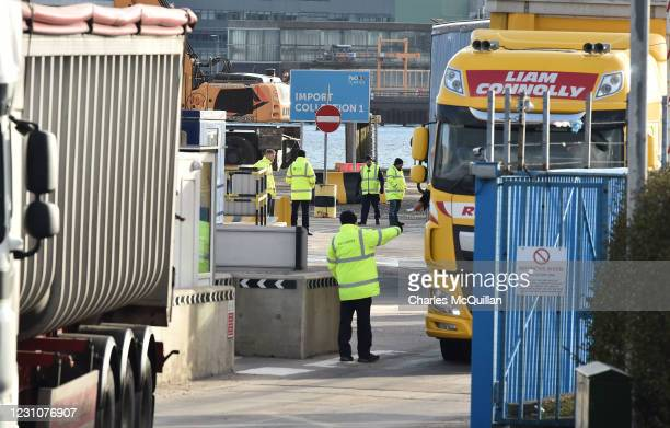 Port inspection staff are seen watching freight exiting the Cairnryan to Larne ferry on February 10, 2021 in Larne, Northern Ireland. Port inspection...