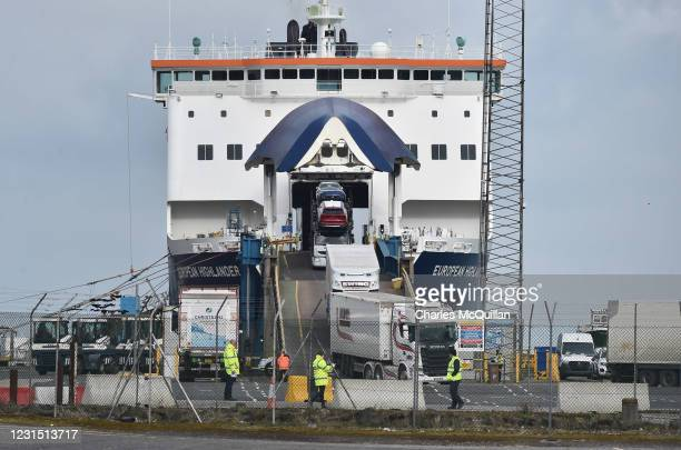 Port inspection staff check freight that has just arrived on the Larne to Cairnryan ferry on March 4, 2021 in Larne, Northern Ireland. The Loyalist...