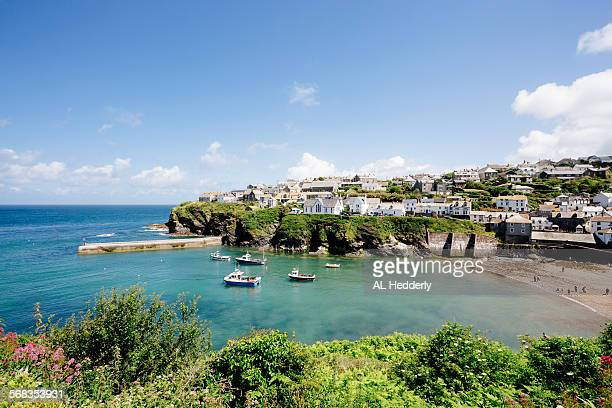 port isaac from the south west coast path - cornwall england stock pictures, royalty-free photos & images