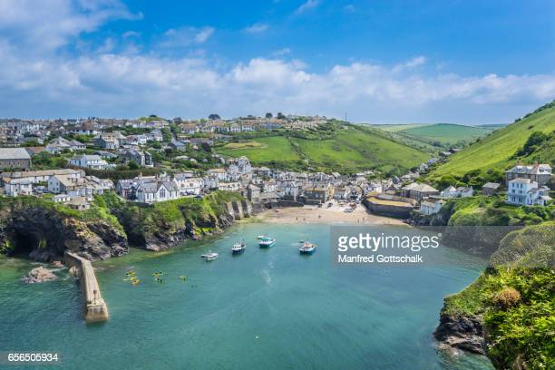 port isaac harbour and village cornwall - cornwall england stock pictures, royalty-free photos & images
