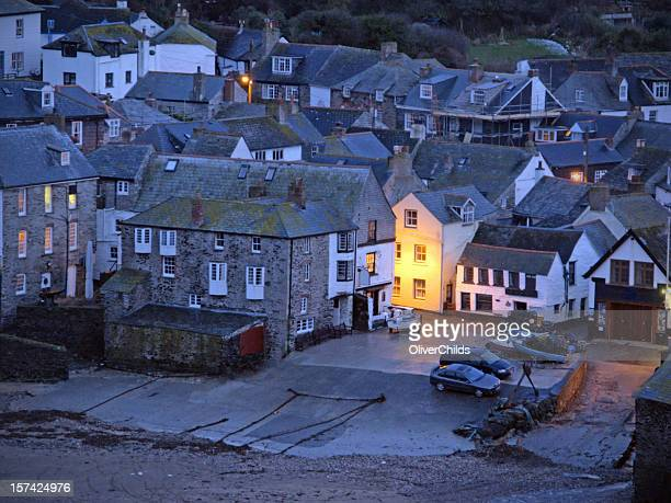 port issac at dusk - port isaac stock pictures, royalty-free photos & images
