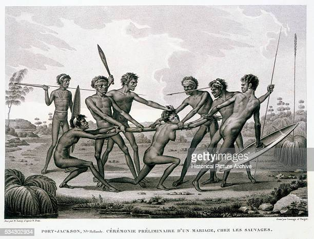 Port Jackson New Holland Preliminary Ceremony of a Marriage Among the Aborigines Book Illustration