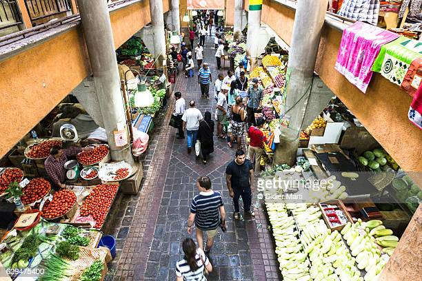 port louis fresh market in mauritius capital city - port louis stock photos and pictures