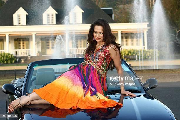 Miss India 2005 Amrita Thapar poses 16 November 2005 during a photo shoot in Les Domain Les Sables Mauritius Miss Thapar arrived in Mauritius...