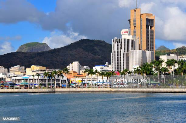 port louis skyline from the harbor, mauritius - port louis stock photos and pictures