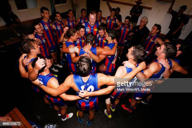 Port Melbourne Borough celebrate by singing the song after the round one VFL match between Port Melbourne and Northern Blues at North Port Oval on...