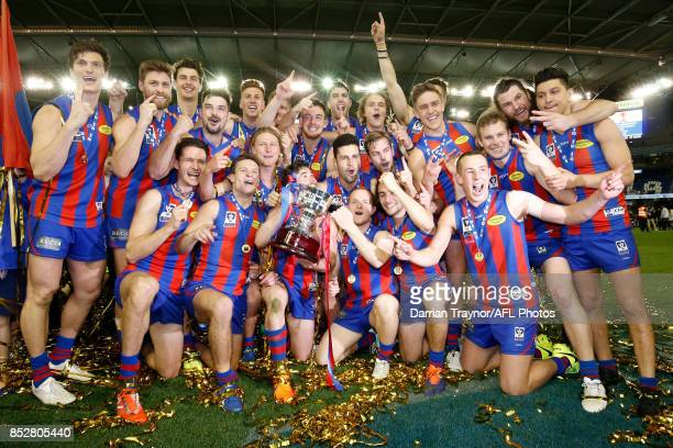 Port Melbourne players celebrates winning the VFL Grand Final match between Richmond and Port Melbourne at Etihad Stadium on September 24 2017 in...