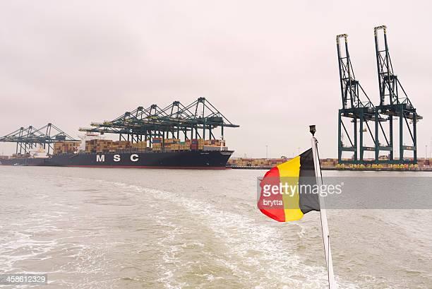 port d'anvers - drapeau belge photos et images de collection