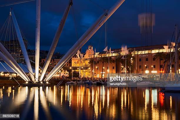 port of genoa by night - genova foto e immagini stock