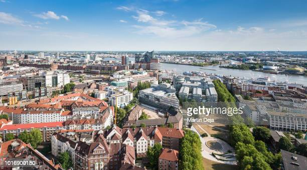 port of hamburg aerial view - hamburg germany stock pictures, royalty-free photos & images