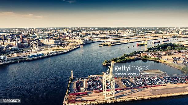 Port Of Hamburg By Elbe River