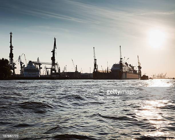 port of hamburg dock - elbe river stock photos and pictures