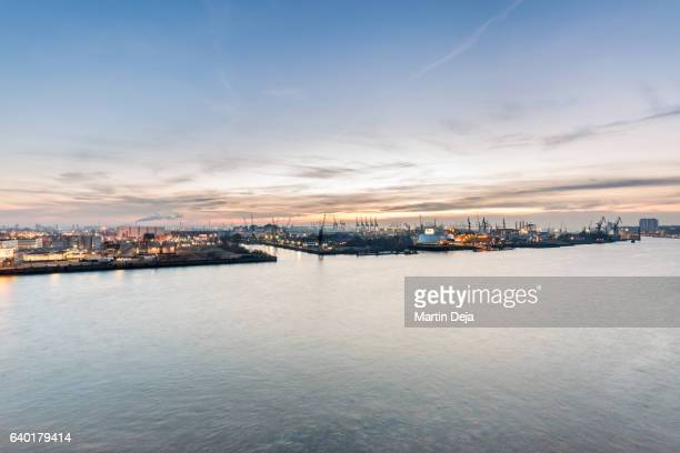 port of hamburg - elbe river stock photos and pictures