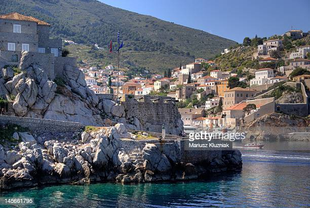 port of hydra island, greece - hydra greece stock photos and pictures