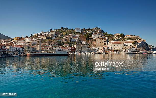 port of hydra town on hydra island - hydra greece stock photos and pictures