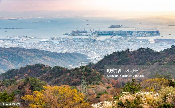 port of kobe from rokko mountain view - kobe japan stock pictures, royalty-free photos & images