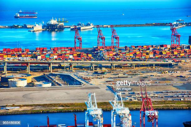 port of los angeles aerial - port of los angeles stock pictures, royalty-free photos & images