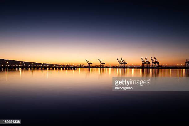 port of los angeles and long beach at sunset - long beach california stock photos and pictures