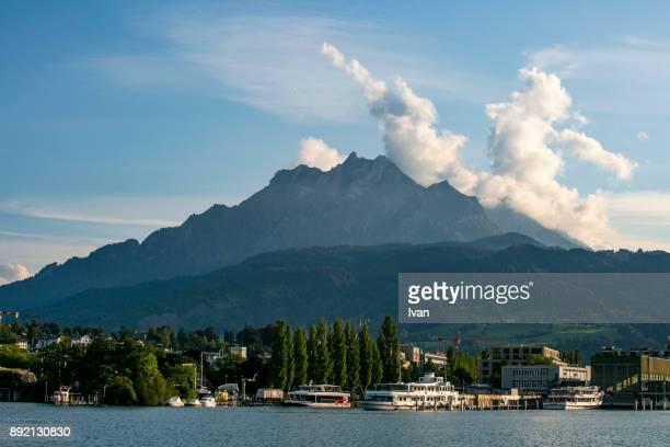 Port of Lucerne Switzerland with Mount Pilatus