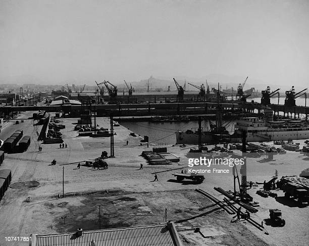 Port Of Marseille Panoramic View In France During Fifties