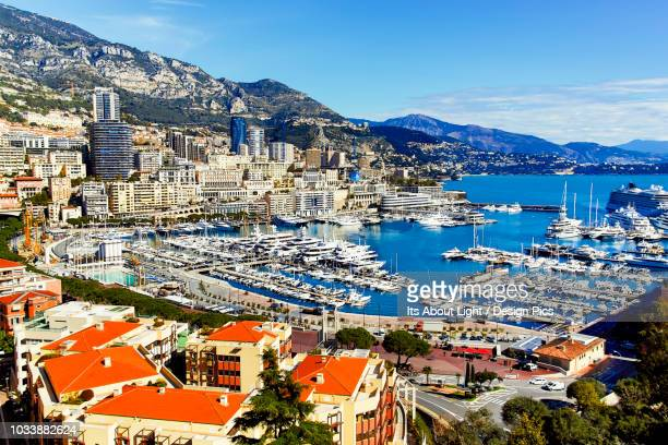port of monte carlo on the french riviera - monaco stock pictures, royalty-free photos & images