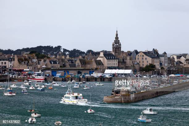 port of roscoff in brittany - finistere stock photos and pictures
