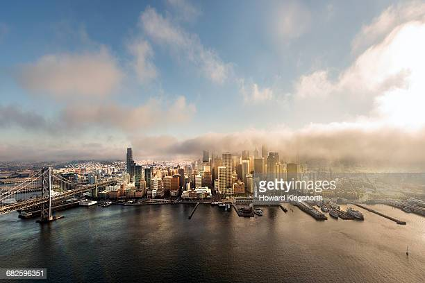 Port of San Francisco shrouded in fog, aerial view