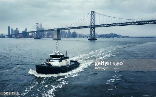 port of san francisco tug boat - tugboat stock photos and pictures
