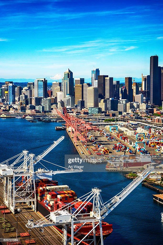Port of Seattle Washington From Above : Stockfoto