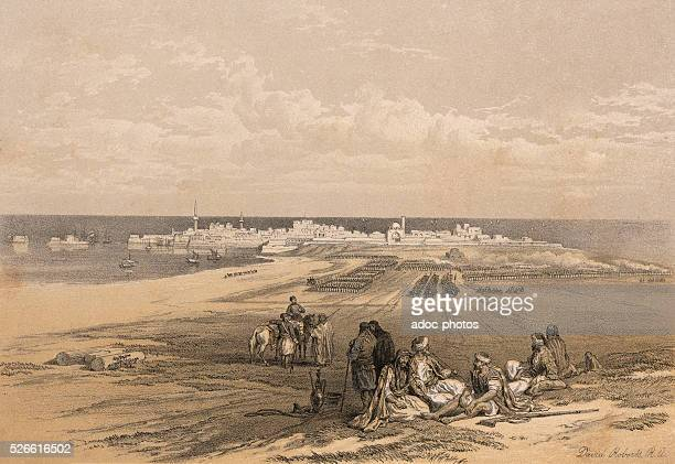 Port of St Jean d'Acre Ca 1845 Lithography by David Roberts