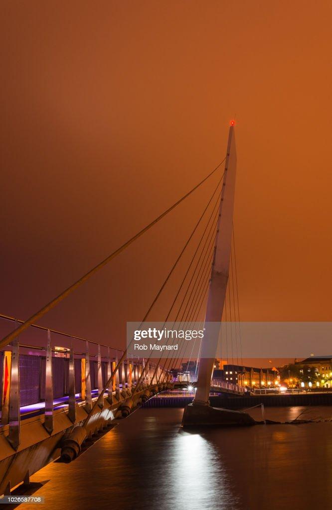 Port sail bridge night at Swansea, Wales : Stock Photo