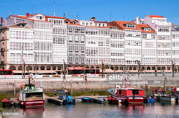 Port sea and white galleries in the facades of the city of A Coru��a